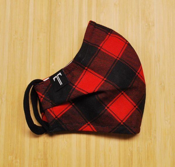 couvre-visage carreaux rouges